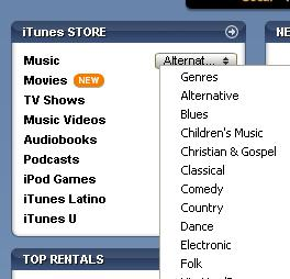 iTunes QuickLink Dropdown
