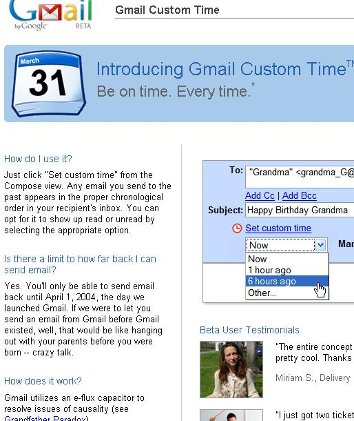 Gmail Custom Time Webpage